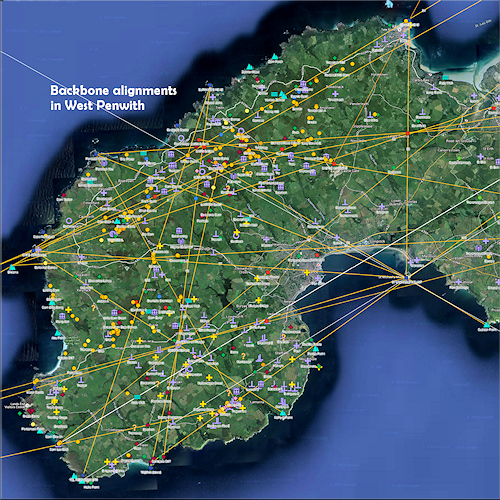 Map of the backbone alignments in West Penwith