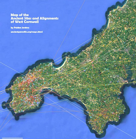Map of the Ancient Site Alignments of West Cornwall