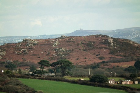 Trencrom Hill with Carn Brea behind, from Castle an Dinas, looking along alignment 83