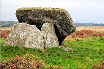 Mulfra Quoit with St Michael's Mount behind